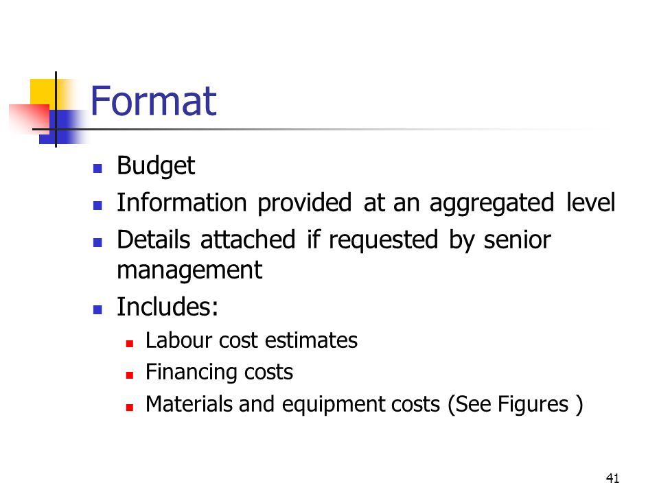 Format Budget Information provided at an aggregated level