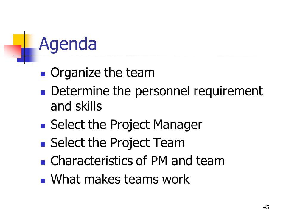 Agenda Organize the team