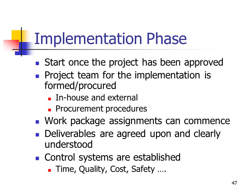 Implementation Phase Start once the project has been approved