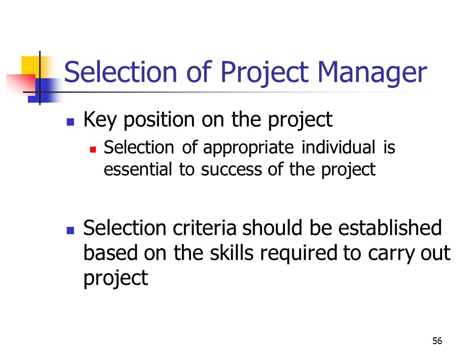 Selection of Project Manager