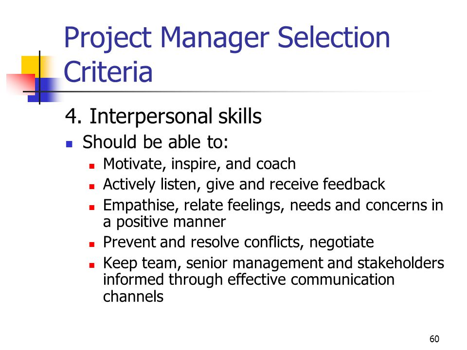 Project Manager Selection Criteria