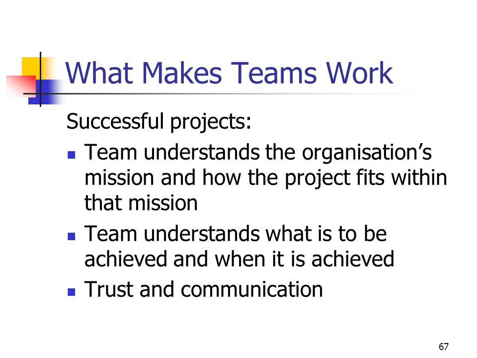 What Makes Teams Work Successful projects: