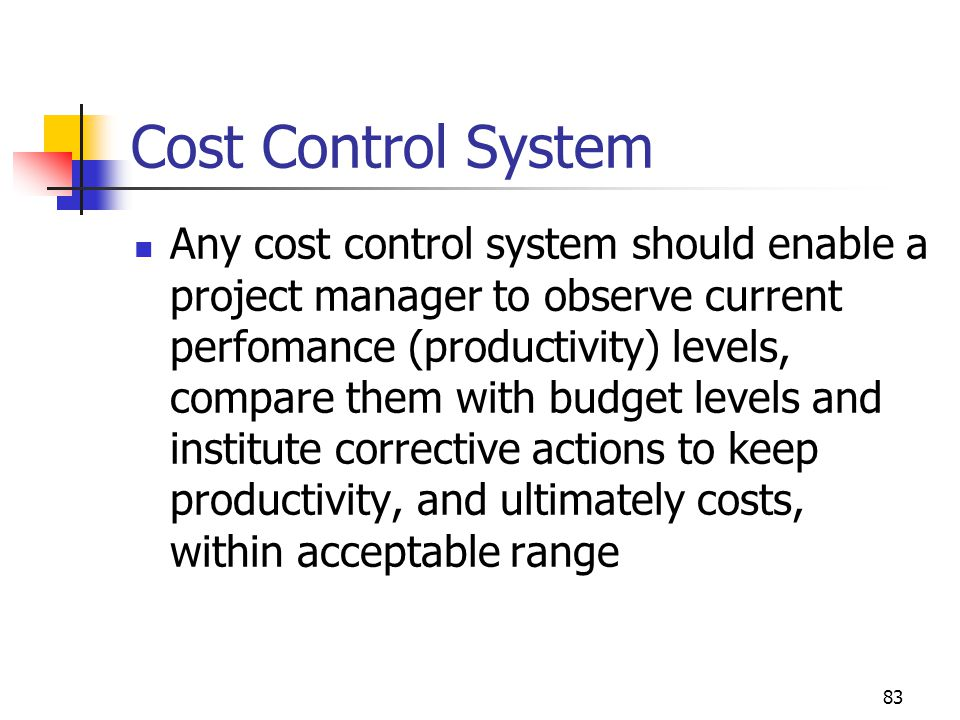 Cost Control System