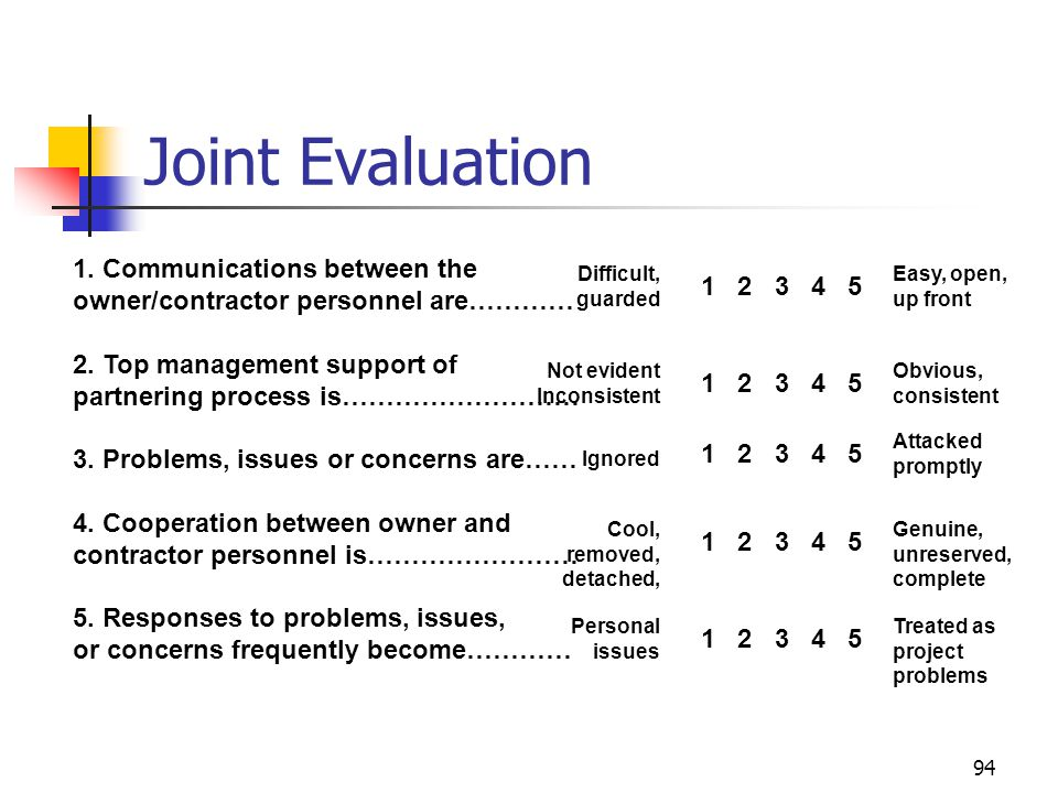 Joint Evaluation 1. Communications between the owner/contractor personnel are………… 2. Top management support of.