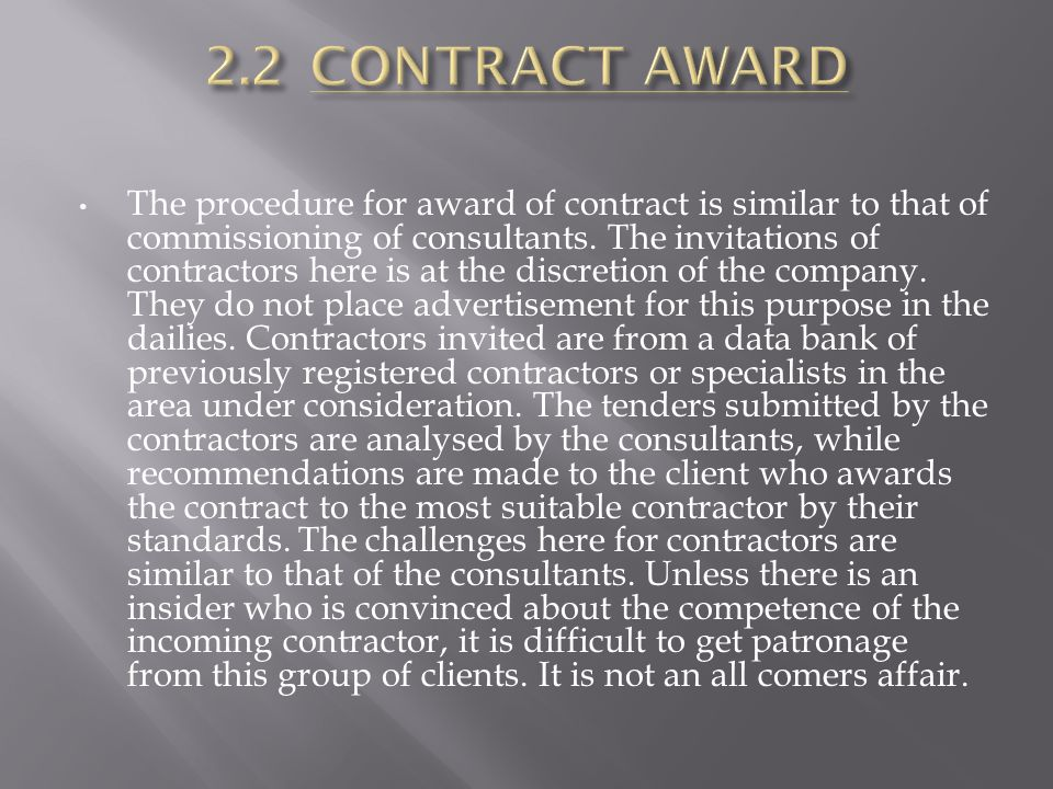 2.2 CONTRACT AWARD