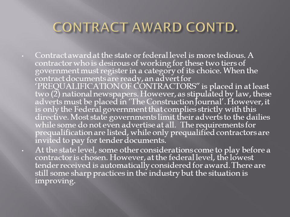 CONTRACT AWARD CONTD.