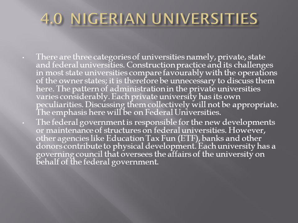 4.0 NIGERIAN UNIVERSITIES
