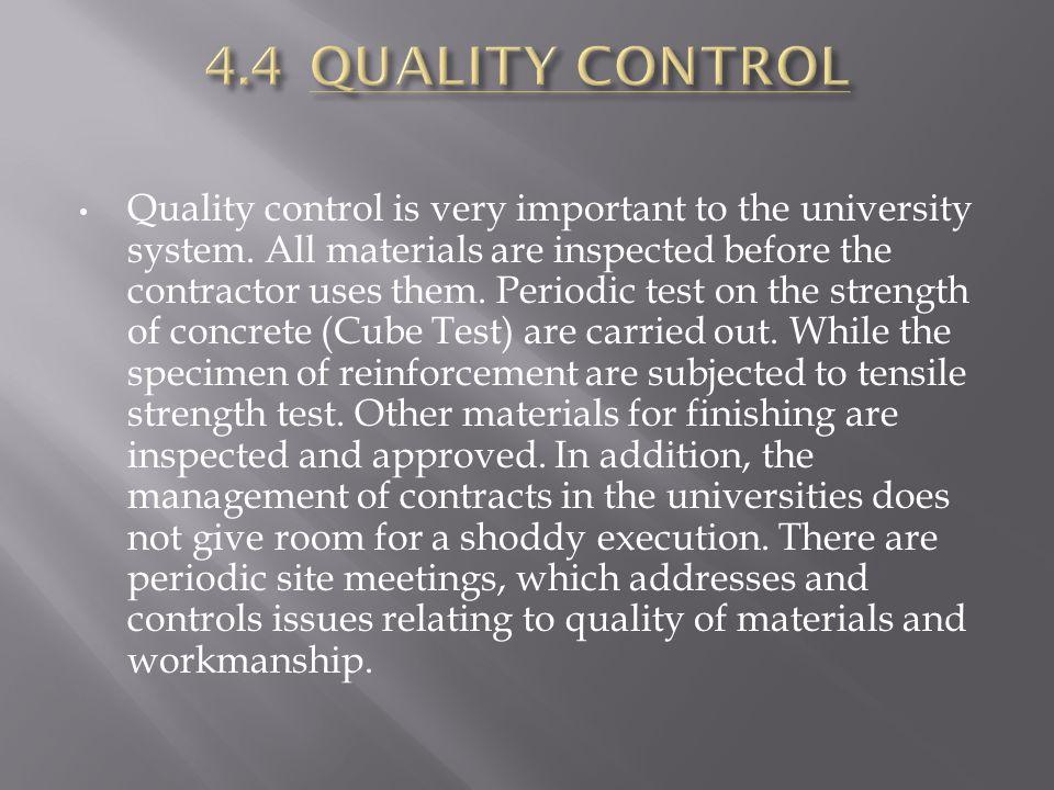 4.4 QUALITY CONTROL