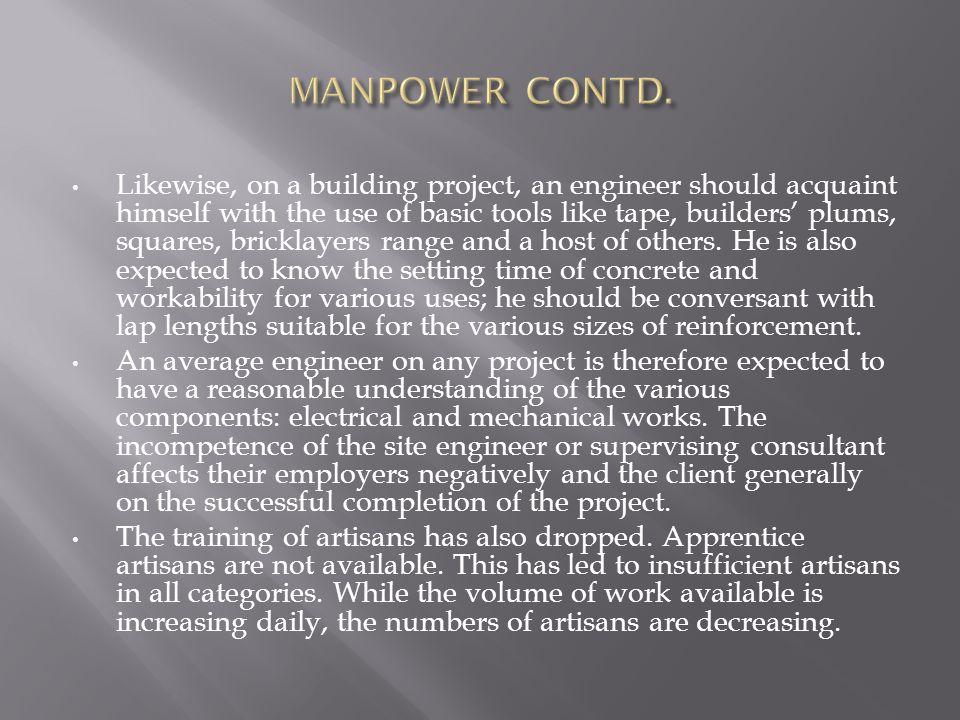 MANPOWER CONTD.