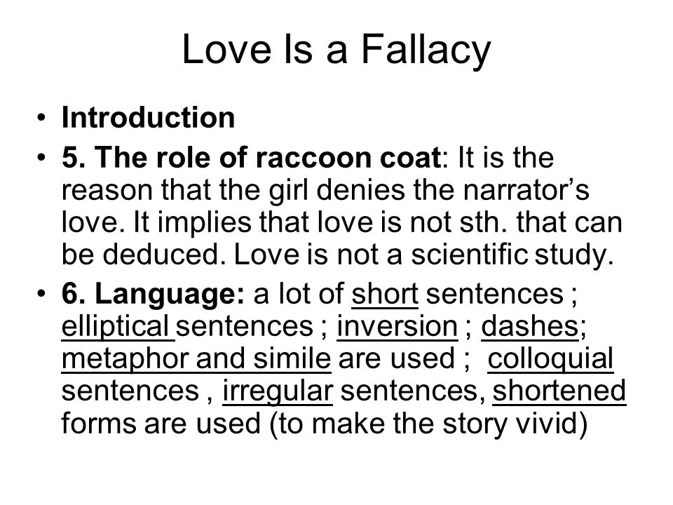 Love Is a Fallacy Introduction