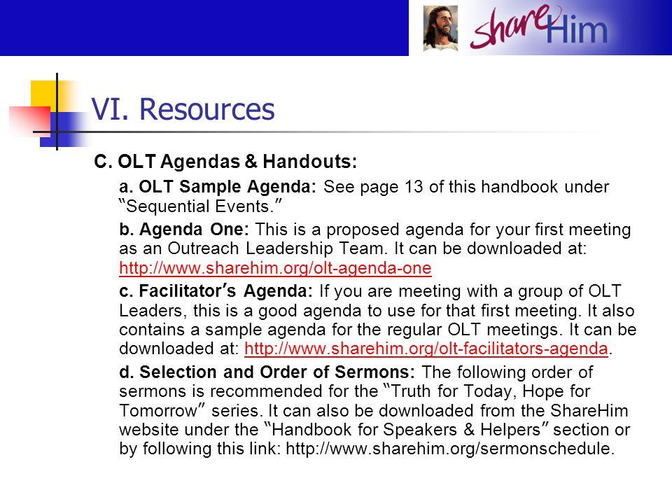 VI. Resources C. OLT Agendas & Handouts: