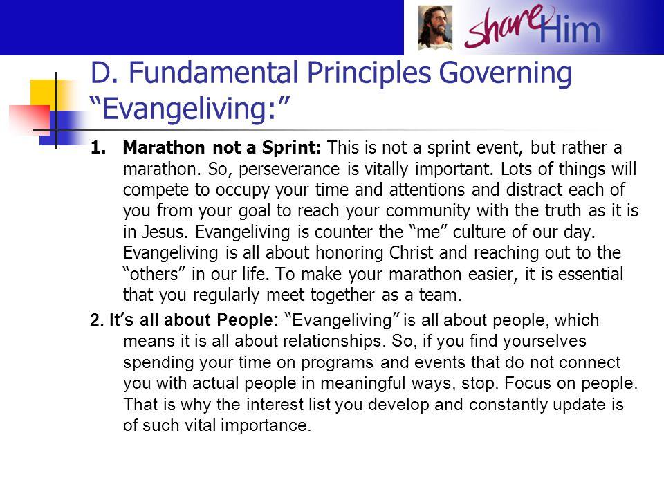 D. Fundamental Principles Governing Evangeliving: