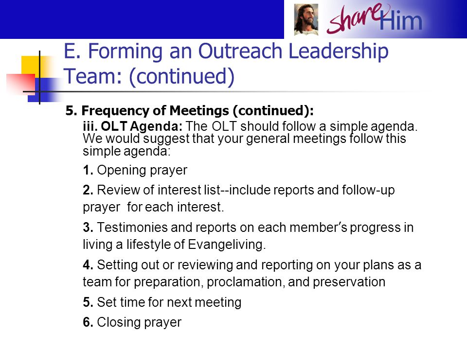 E. Forming an Outreach Leadership Team: (continued)