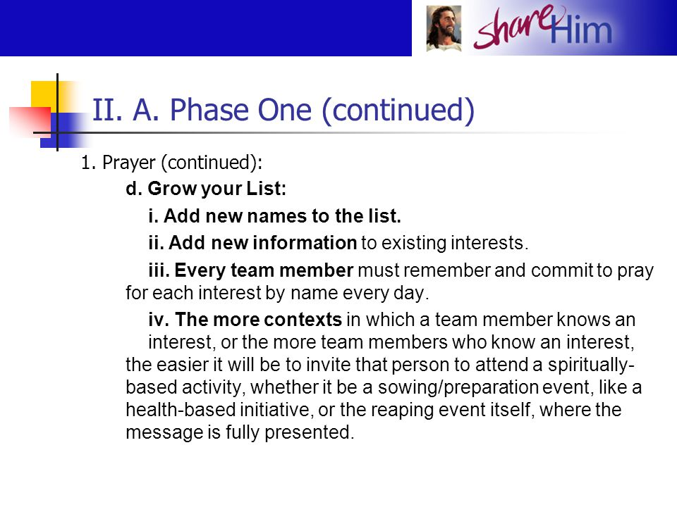 II. A. Phase One (continued)