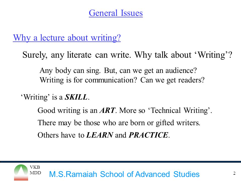 Why a lecture about writing