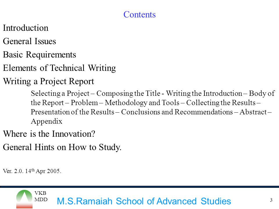 Elements of Technical Writing Writing a Project Report