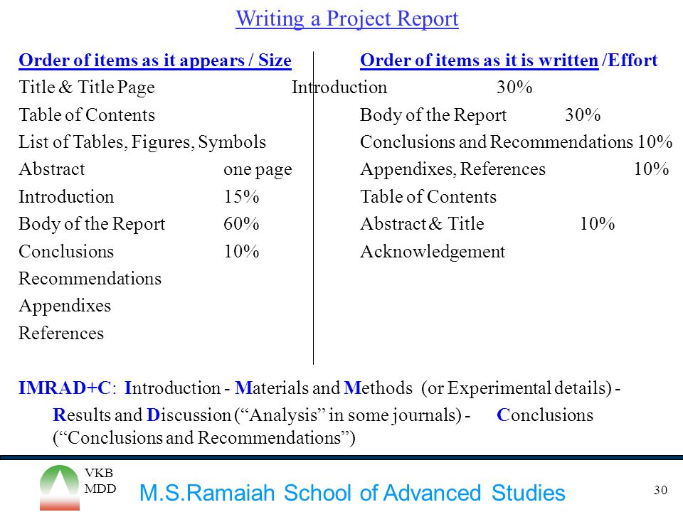 Writing a Project Report