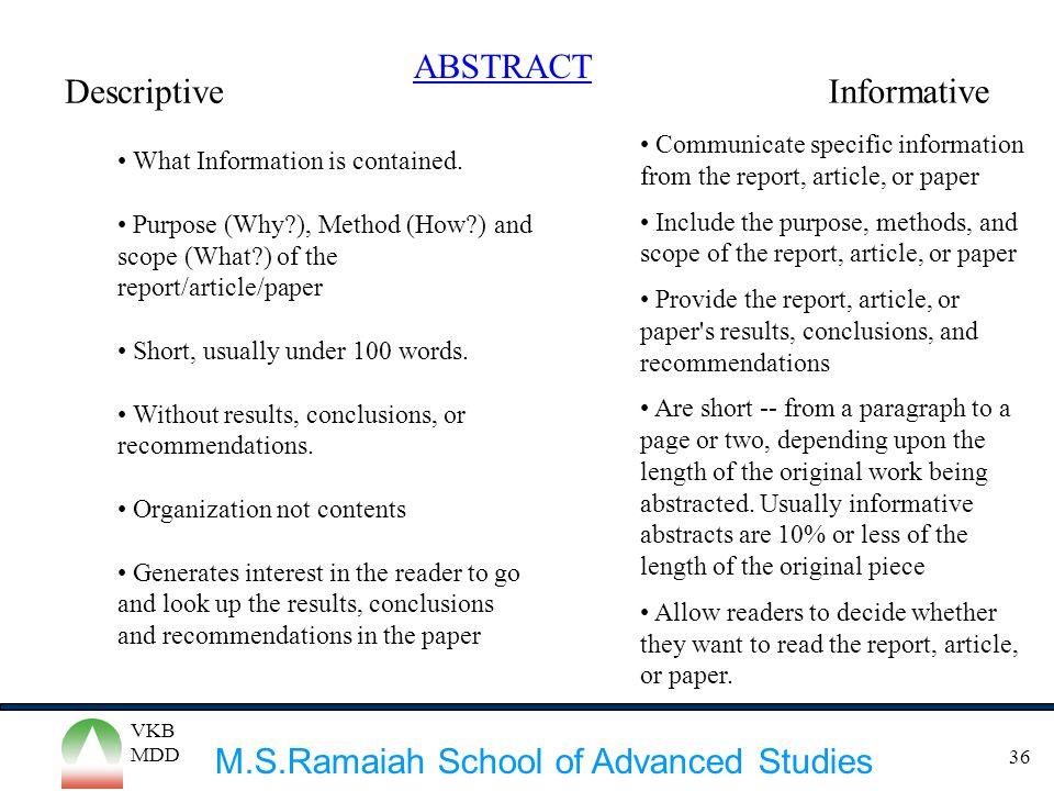 ABSTRACT Descriptive Informative