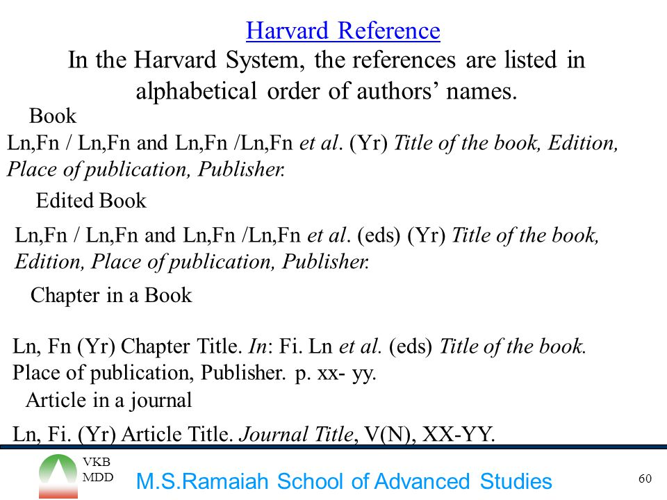 Harvard Reference In the Harvard System, the references are listed in alphabetical order of authors' names.