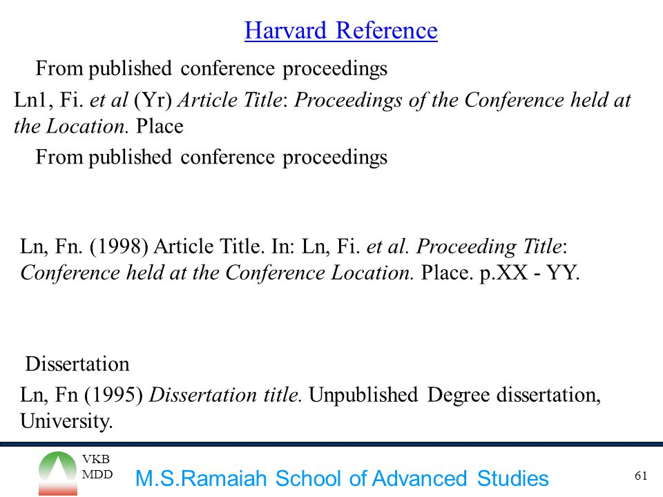 Harvard Reference From published conference proceedings