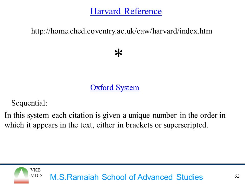 Harvard Reference http://home.ched.coventry.ac.uk/caw/harvard/index.htm. * Oxford System. Sequential: