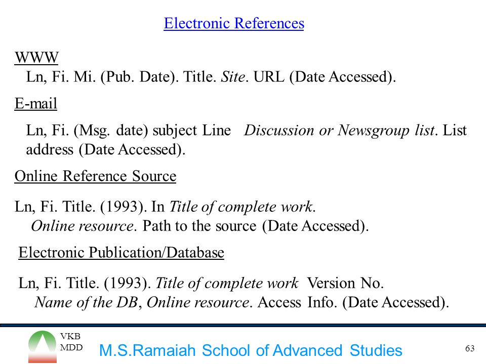 Electronic References
