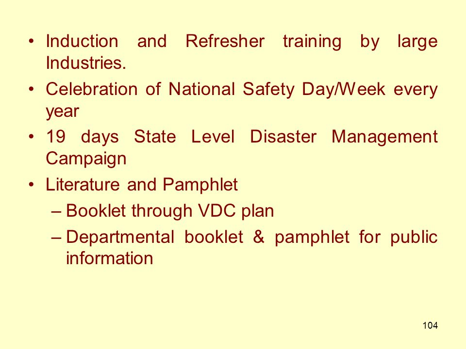 Induction and Refresher training by large Industries.