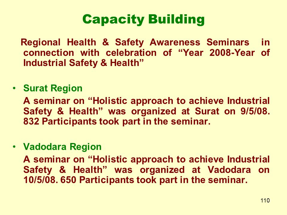 Capacity Building Regional Health & Safety Awareness Seminars in connection with celebration of Year 2008-Year of Industrial Safety & Health