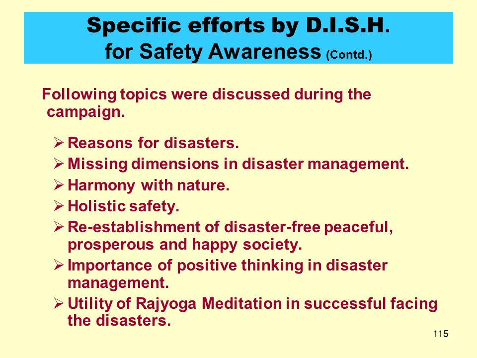 Specific efforts by D.I.S.H. for Safety Awareness (Contd.)