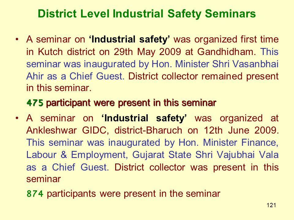 District Level Industrial Safety Seminars