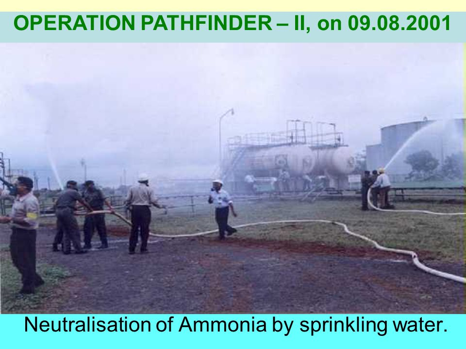 Neutralisation of Ammonia by sprinkling water.