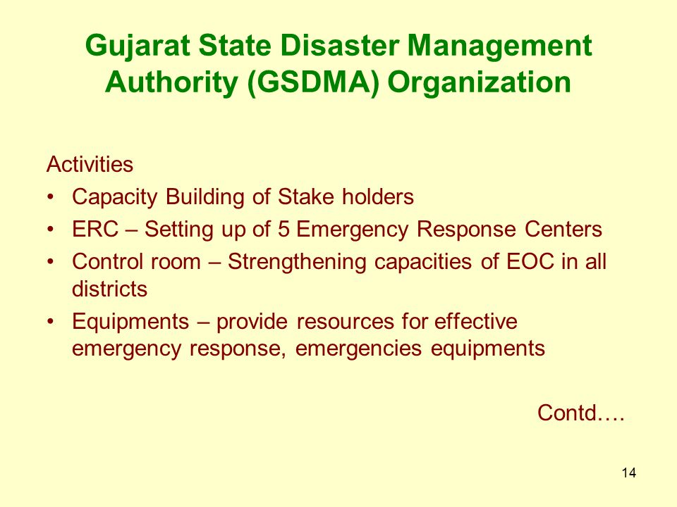 Gujarat State Disaster Management Authority (GSDMA) Organization
