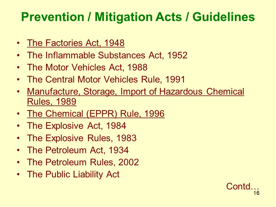 Prevention / Mitigation Acts / Guidelines