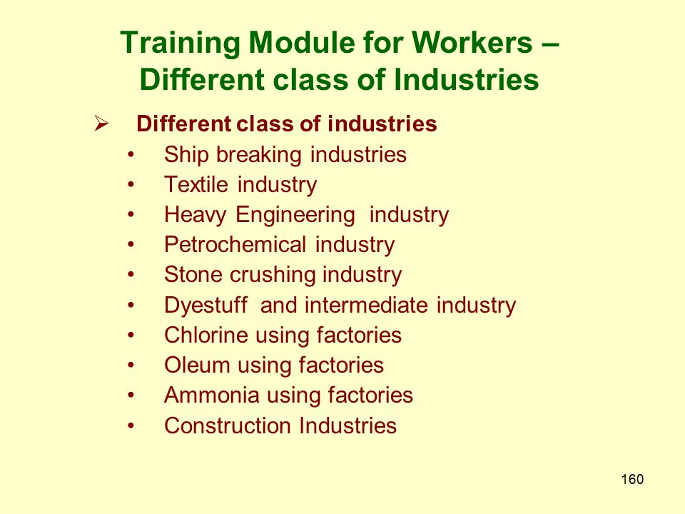 Training Module for Workers – Different class of Industries