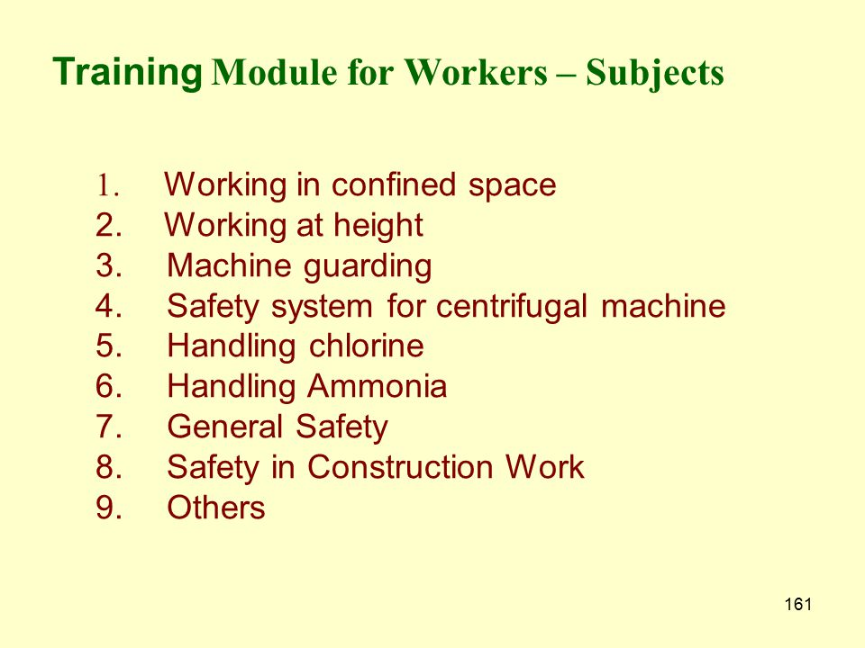 Training Module for Workers – Subjects