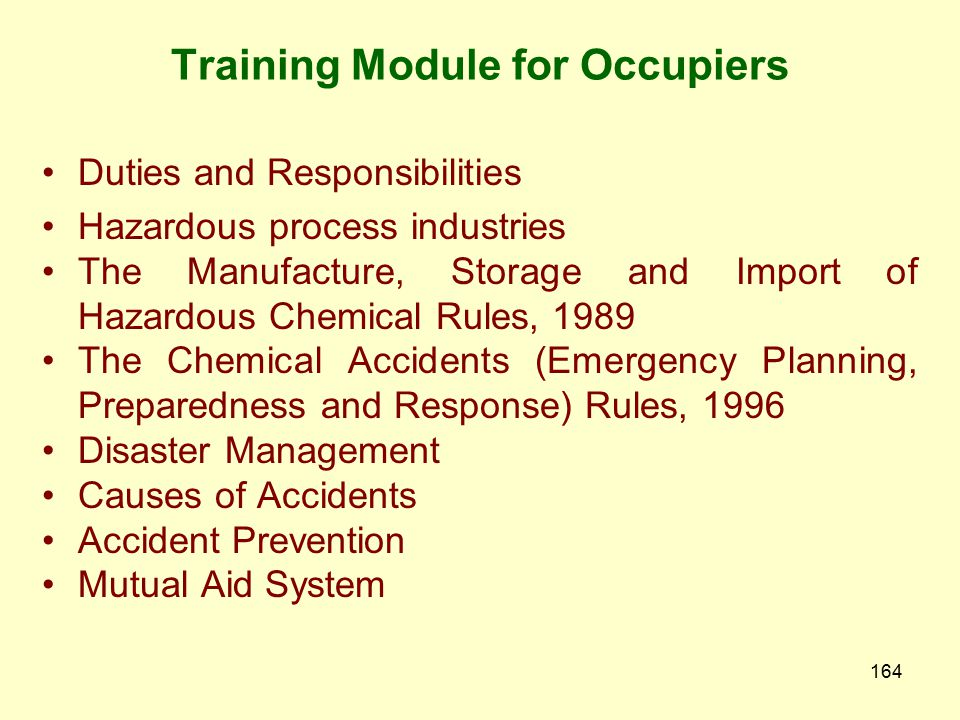 Training Module for Occupiers