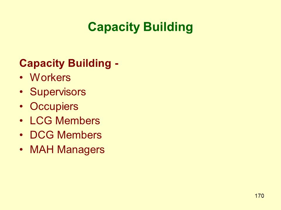 Capacity Building Capacity Building - Workers Supervisors Occupiers