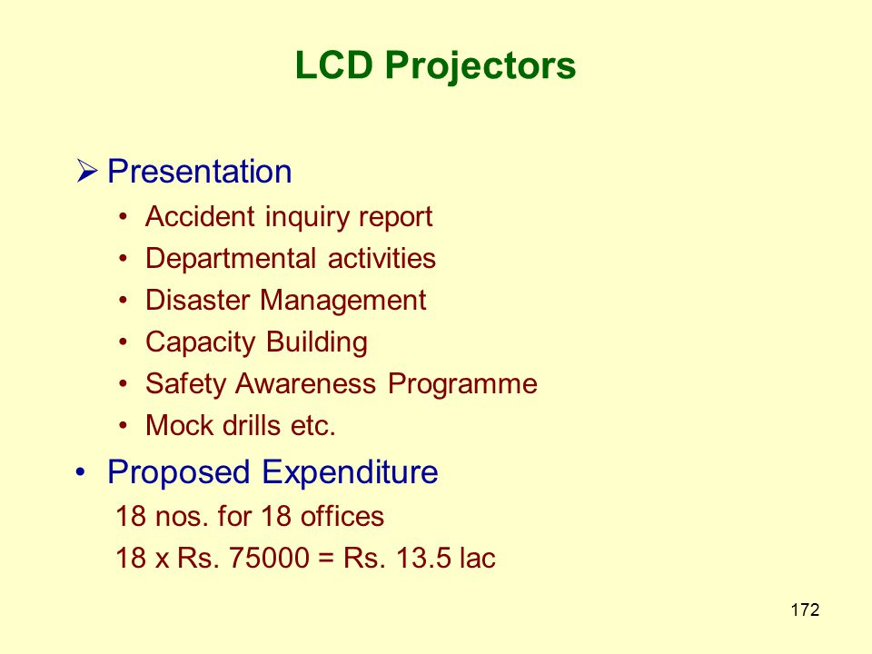 LCD Projectors Presentation Proposed Expenditure