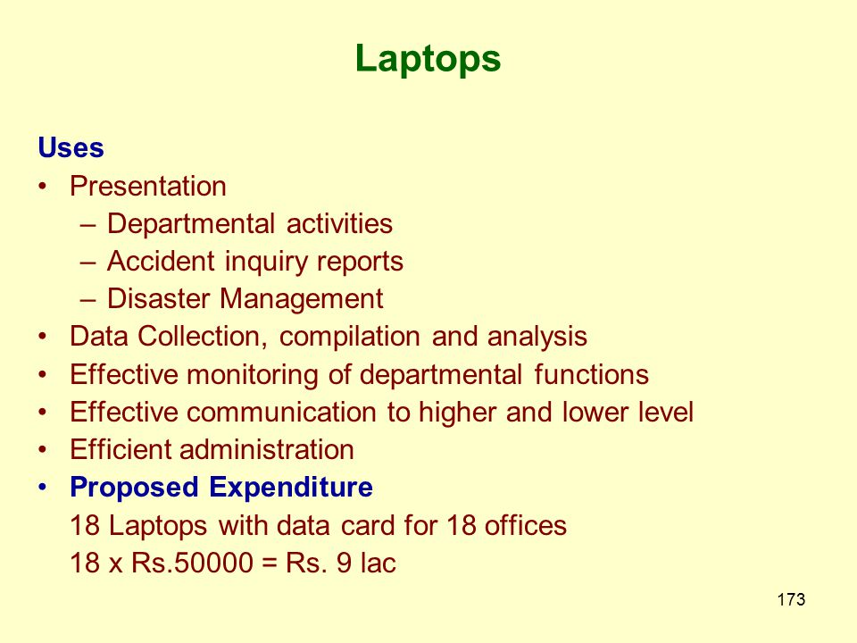 Laptops Uses Presentation Departmental activities