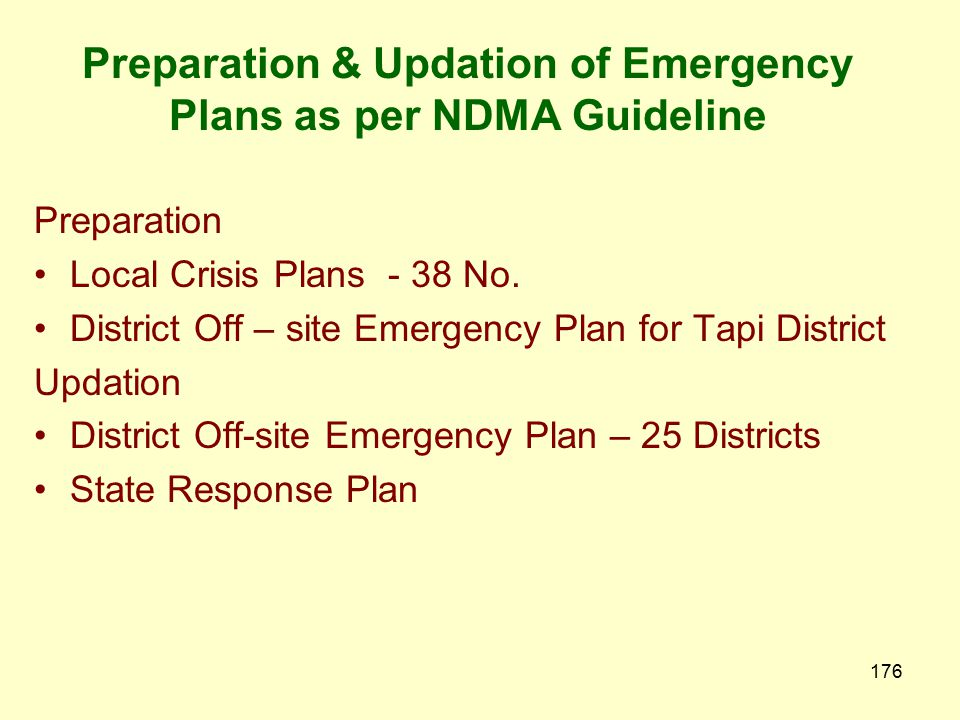 Preparation & Updation of Emergency Plans as per NDMA Guideline