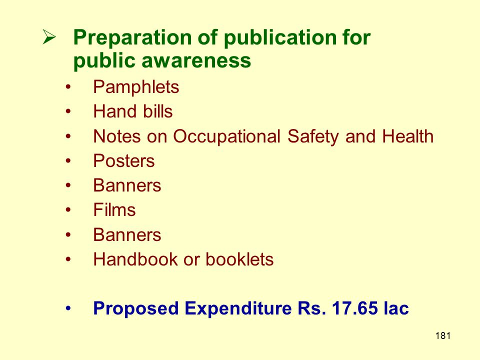 Preparation of publication for public awareness