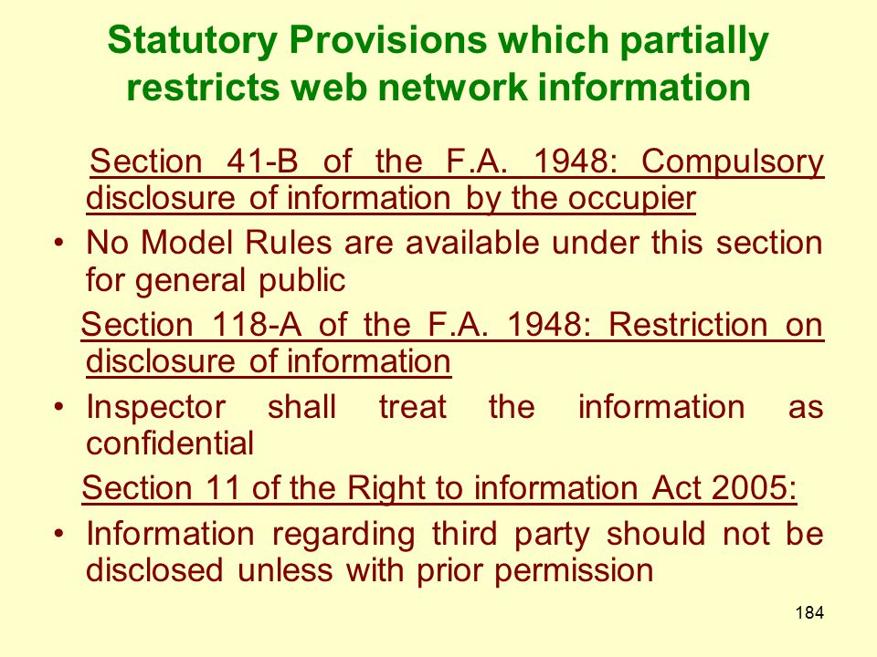 Statutory Provisions which partially restricts web network information