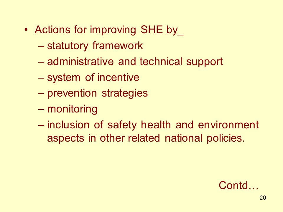 Actions for improving SHE by_