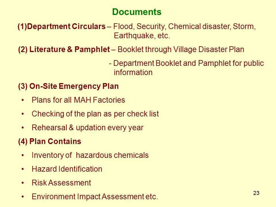 Documents (1)Department Circulars – Flood, Security, Chemical disaster, Storm, Earthquake, etc.