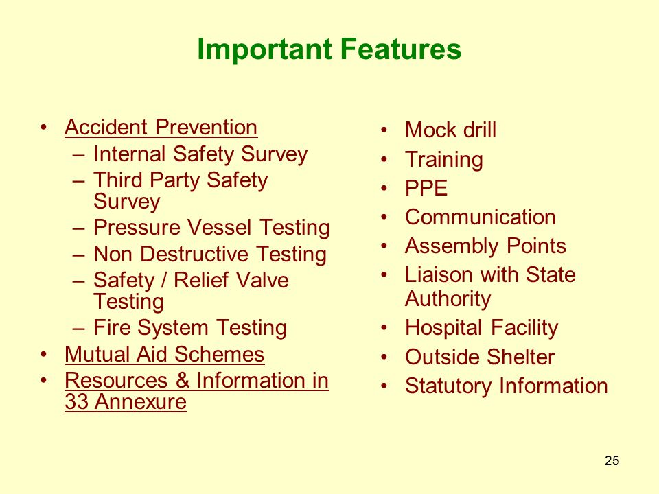 Important Features Accident Prevention Internal Safety Survey