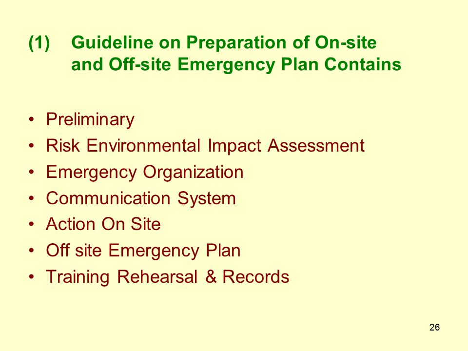 Guideline on Preparation of On-site and Off-site Emergency Plan Contains