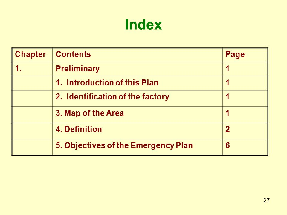 Index Chapter Contents Page 1. Preliminary 1