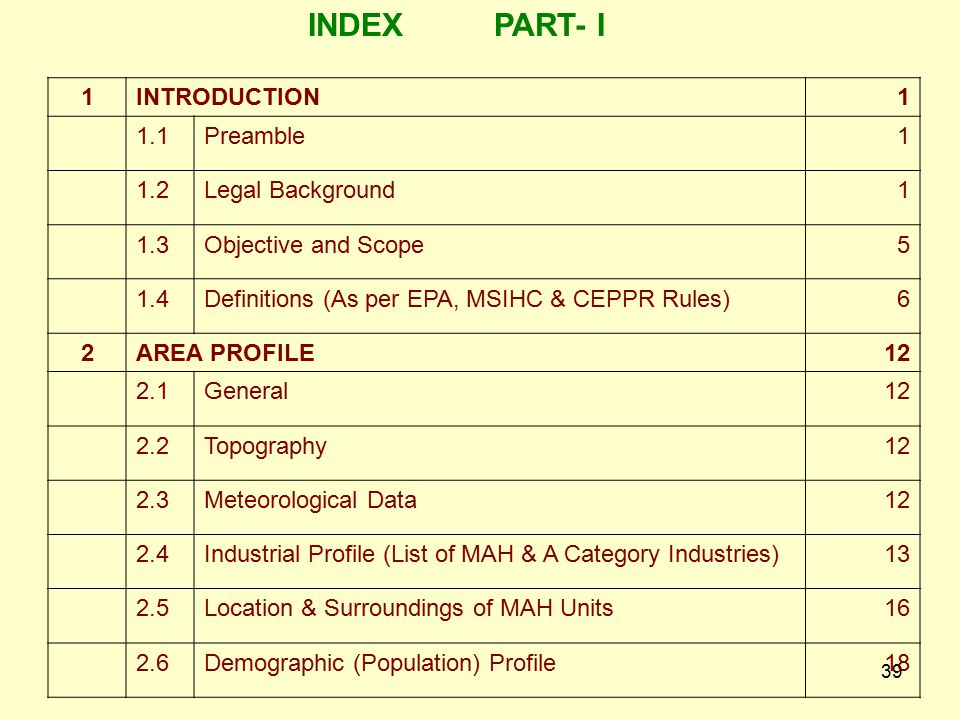 INDEX PART- I 1 INTRODUCTION 1.1 Preamble 1.2 Legal Background 1.3