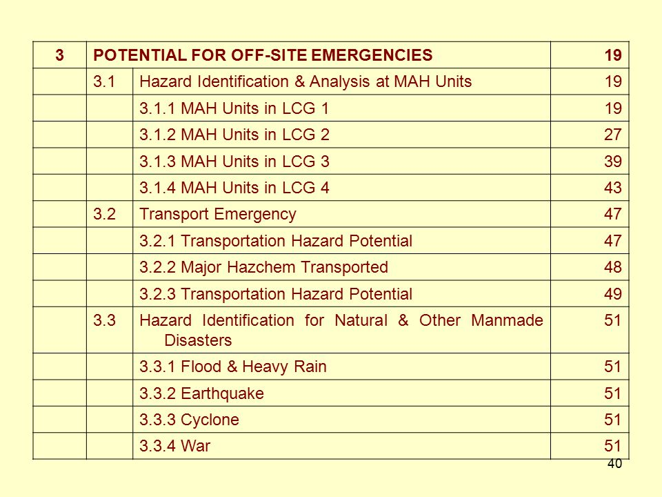 3 POTENTIAL FOR OFF-SITE EMERGENCIES. 19. 3.1. Hazard Identification & Analysis at MAH Units. 3.1.1 MAH Units in LCG 1.