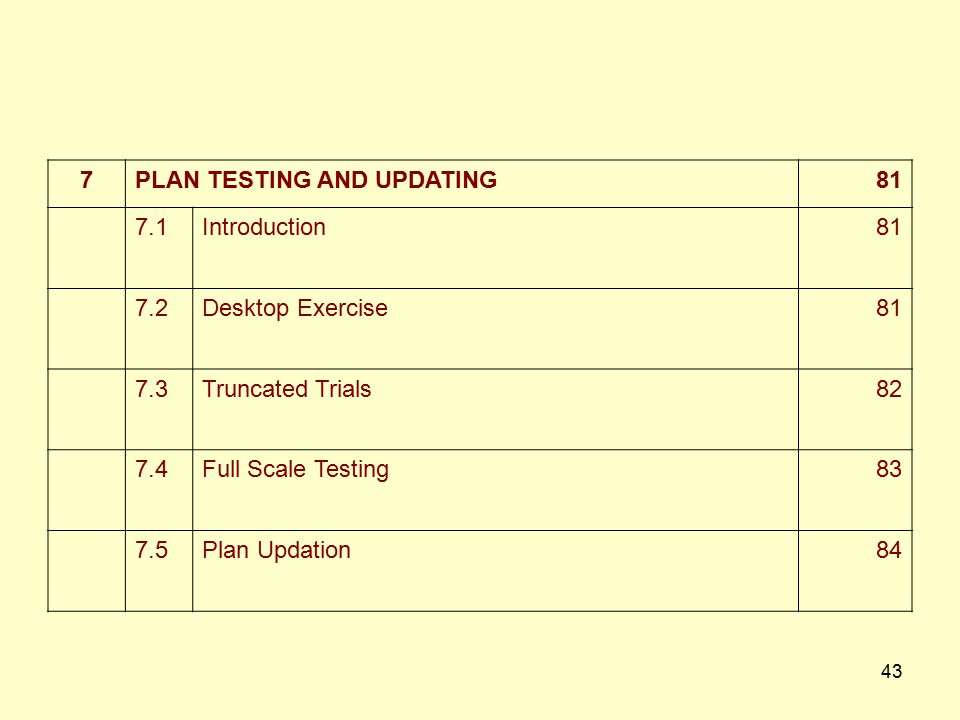 7 PLAN TESTING AND UPDATING. 81. 7.1. Introduction. 7.2. Desktop Exercise. 7.3. Truncated Trials.